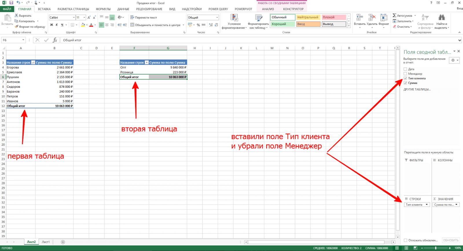 """Формирование таблицы """"Сумма продаж по типам клиентов"""" в Excel"""