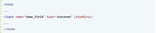 Синтаксис тега <input>: